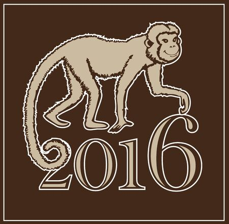 Picture a monkey on a brown background and the date of 2016