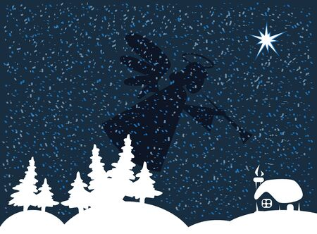 stables: Christmas night snowing and the silhouette of an angel over the crib