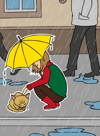 pity: Color illustration of a girl with an umbrella and ginger homeless kitten. Indifferent people around and  rain.