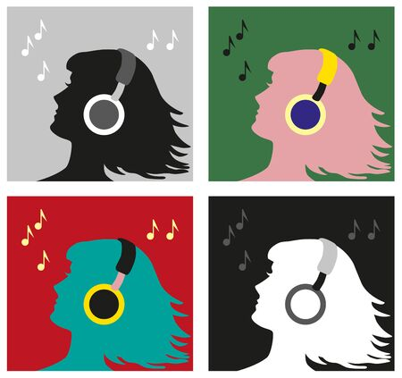 earpieces: illustration of a woman in profile with headphones in the style of pop art