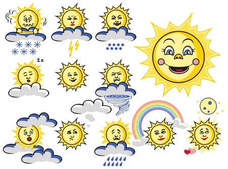 coldly: illustration of the sun with a cloud of emotions and the weather on a white background