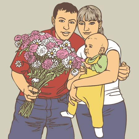 preview: Preview family couples with baby and a bouquet of flowers.