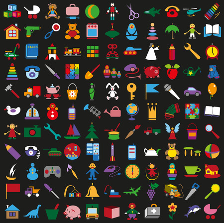 toy story: illustration colored icons on a black background childrens toys Illustration