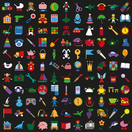 tessera: illustration colored icons on a black background childrens toys Illustration