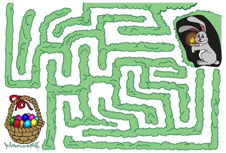 Maze: Easter bunny with a candle out of its hole in search of a basket with eggs Illustration