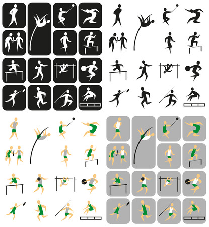 Icons auf ein Thema Sport: Leichtathletik. Figuren Athleten.