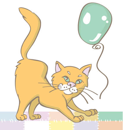 white patches: illustration of funny red cat and a green balloon