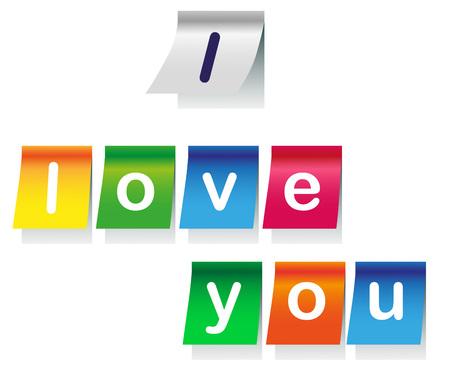 te amo: ilustraci�n de la inscripci�n sobre un fondo blanco y pegatinas de colores Te amo