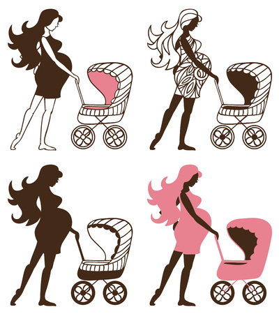 childbearing: silhouette of a pregnant woman with a stroller on a white background Illustration