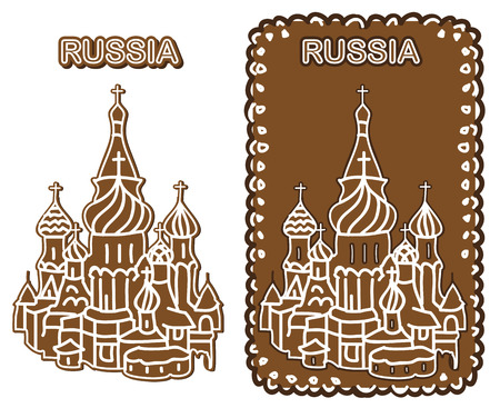 country church: illustration on a white background cake patterned with the image of St. Basils Cathedral and Russian inscriptions Illustration