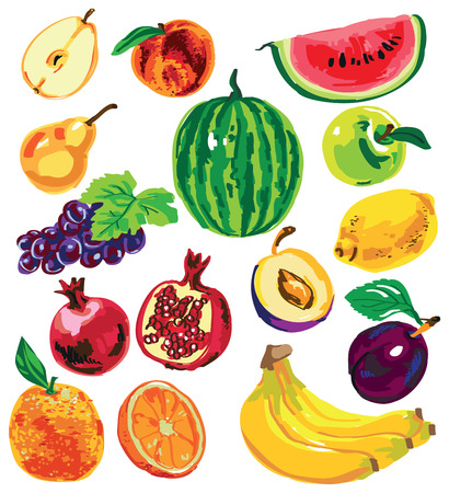 banana sheet: Preview numerous colored fruits and berries on white background. Illustration