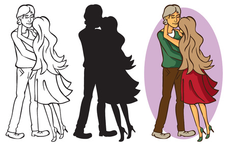 couple embrace: couple in love hugging. the girl with long hair. silhouette men and women Illustration