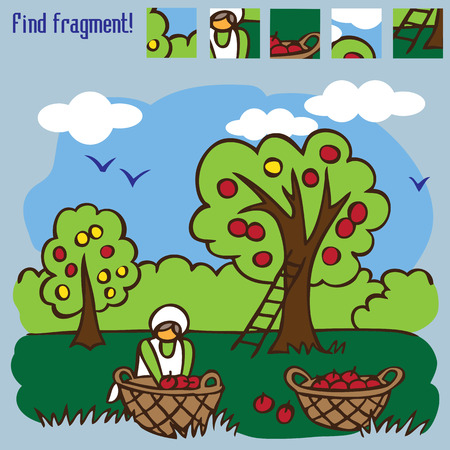 game find the fragment. the harvest season of apples from the trees