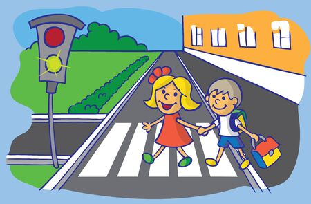 brother and sister: illustration of boy and girl schoolchild are moving through the crosswalk on a green traffic light
