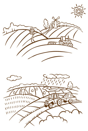 hamlet: linear illustration of farm landscape with tractor on a white background