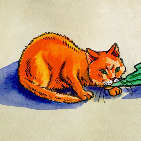 tail: illustration on paper red cat eating fish tail watercolor Stock Photo
