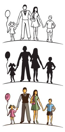 brother and sister: illustration of family silhouette on a white background. children with balloon and ball Illustration