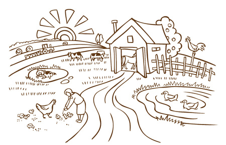 iilustrate on a white background farm with animals and agriculture in the morning Illustration