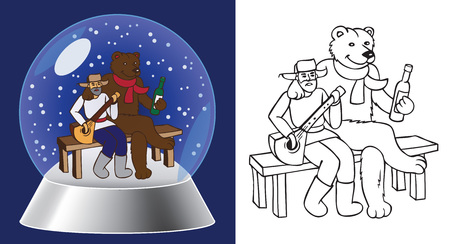 glass bowl: glass bowl illustration of a Russian man with balalaika and bear sitting on the bench Illustration