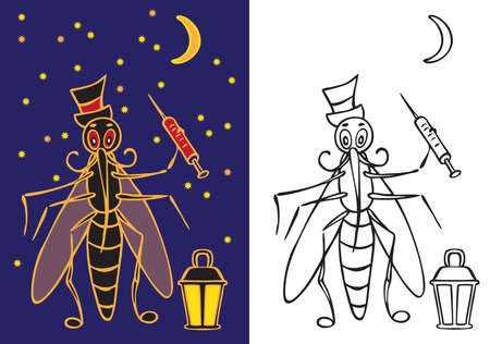 prick: iilustrate character a mosquito with a flashlight and a syringe of blood at night