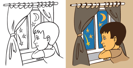blind child: illustration of boy looking through the window at night falling star