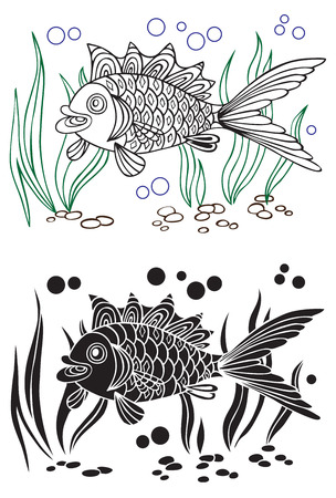 decorative fish: illustration on white background decorative fish on the bottom and algae Illustration