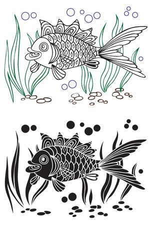 decorative fish: illustration on white background decorative fish on the bottom and algae Illustration