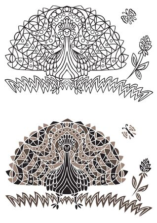 peacock butterfly: illustration of decorative peacock bird and flower with butterfly