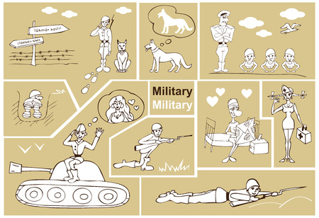 sentry: comic illustrations on the theme of soldiers and the military, medic
