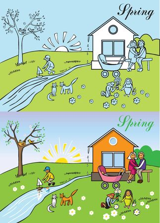 Illustration nature a big happy family spring outdoors Illustration