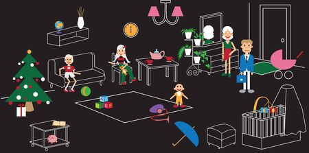 toy chest: linear illustration on a black background family in the room with the Christmas tree
