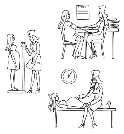 gynecologist: illustration on a white background pregnant woman on reception at the doctor