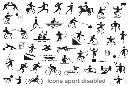 wheelchair users: black icons on white background disabled sports and athletes, wheelchair users