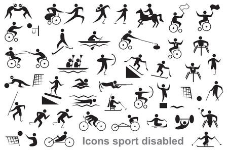 icônes noires sur fond blanc désactivé les sports et les athlètes, les utilisateurs de fauteuils roulants Vecteurs