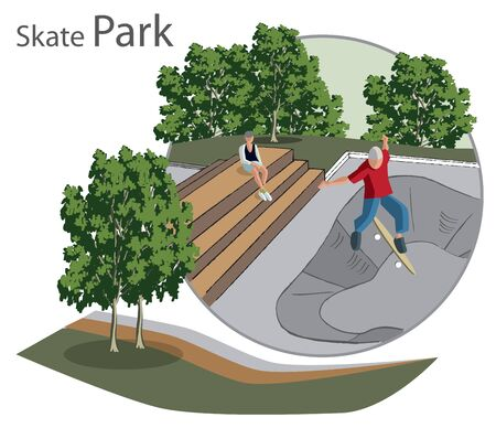 skate park: sketch of the skate Park with benches and people in the circle Illustration