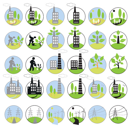 bionomics: icons on white background in circles on the subject of industry, energy and the environment