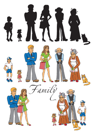 gaffer: illustration of a big family - mom, dad, grandma, grandpa, son, daughter, cat characters separately in a group