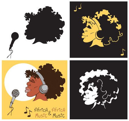 lady silhouette: illustration of an African-American woman singing into microphone with headphones and silhouette