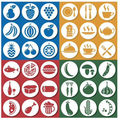 banana bread: icons in the colored circles on the topic of: glassware, food and drinks Illustration