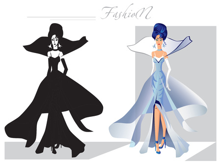 catwalk model: illustration on white background silhouette fashionable women on the catwalk and color option Illustration