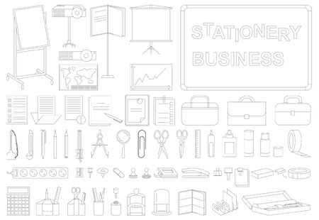 hole punch: icons on white background outline on the subject of business stationery