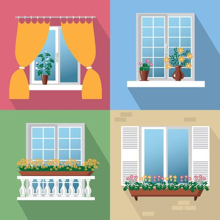 color illustrations with different flowers, balcony, inside and outside Vector Illustration