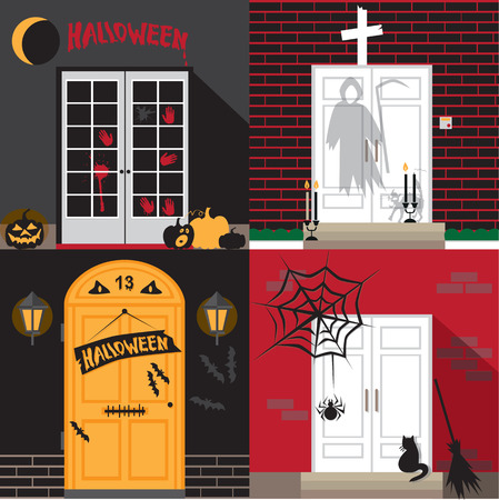 monsters house: illustration of different front door decorated for Halloween Illustration
