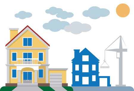 illustration on white background private yellow house and building under construction