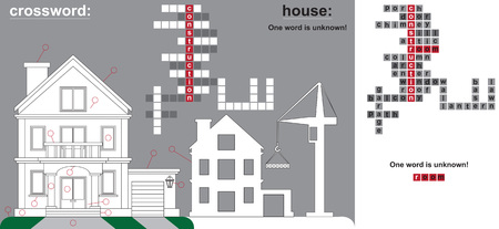 main part: illustration on the theme of a crossword puzzle: part of the house and the main word - construction Illustration