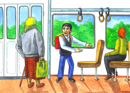 bad manners: illustration with watercolors on the theme: respect for the elderly. Human indifference. The boy gives way to public transport to the old woman.