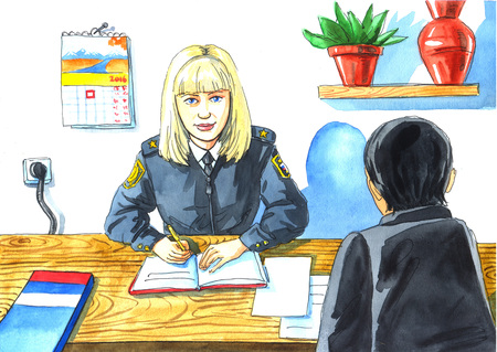 interrogate: illustration watercolor drawing a childrens profession mother - investigator. woman sitting at Desk with pen in hand and the man back. Stock Photo
