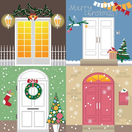 front porch: illustration of different doors are decorated with new year and Christmas