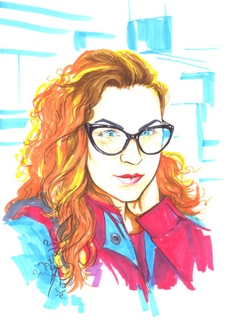 fashion illustration markers on white background curly red-haired girl in glasses