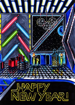 star Wars: illustration markers on paper modern interior in the style Christmas - Star Wars Stock Photo